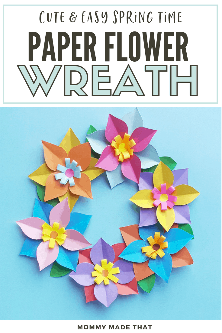 Paper flower wreath craft