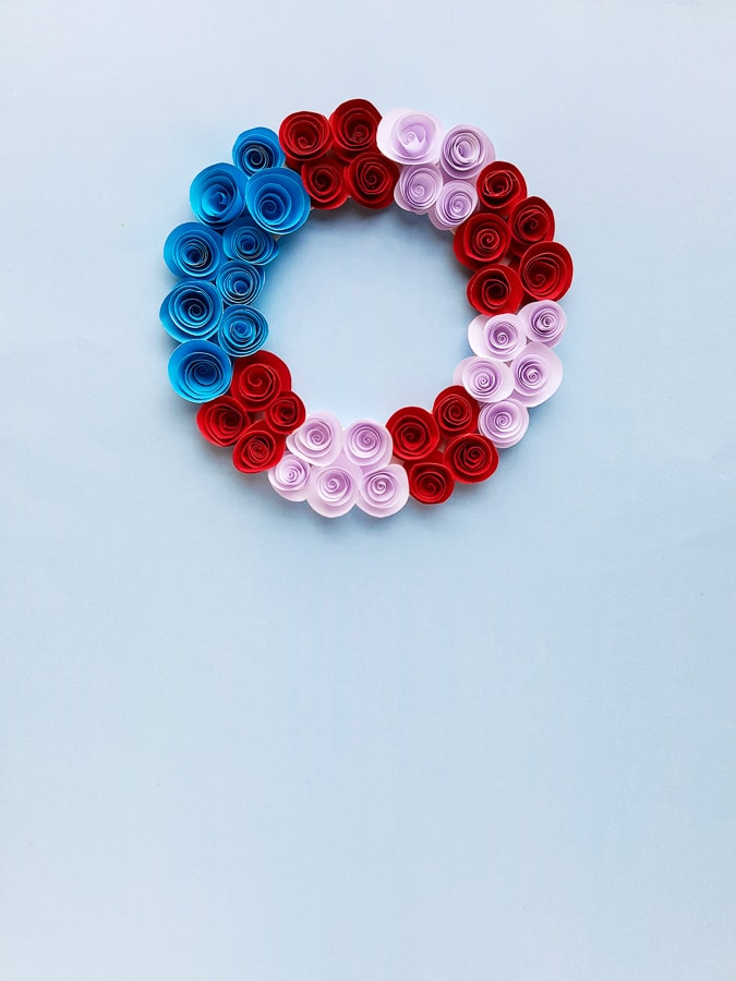 Patriotic Wreath made from Paper Flowers