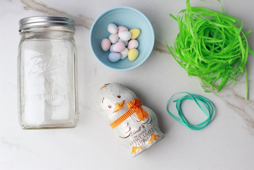 Supplies for Cute Easter Bunny Chick in Mason Jar