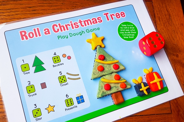 Christmas tree play dough mat game