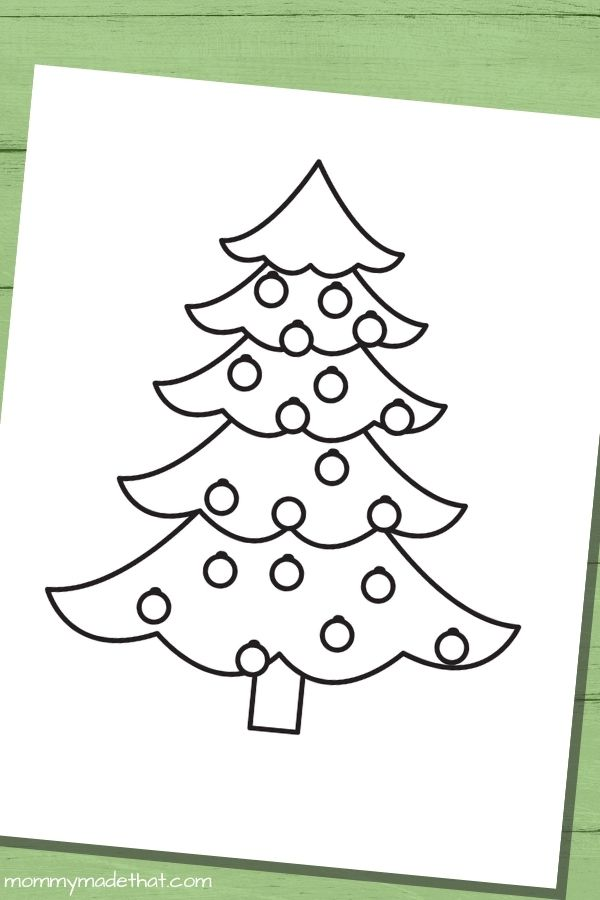 Christmas tree templates coloring page