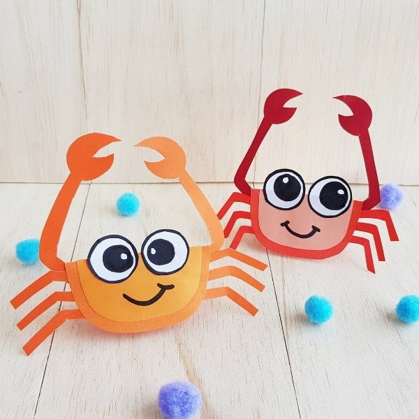 crab craft for kids made from construction paper