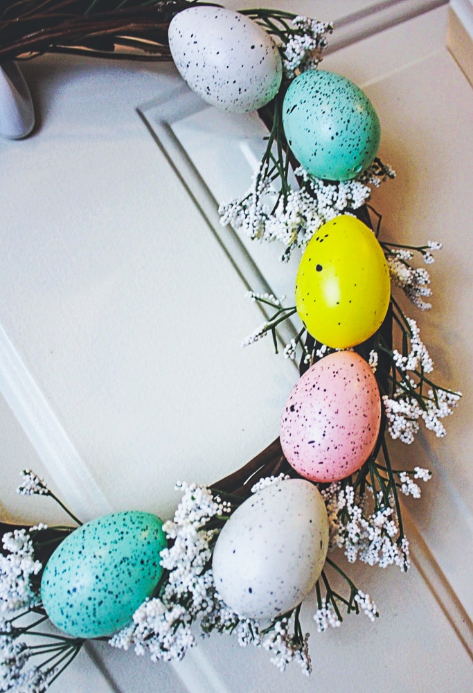 DIY Easter Wreath made with easter eggs and dollar store items