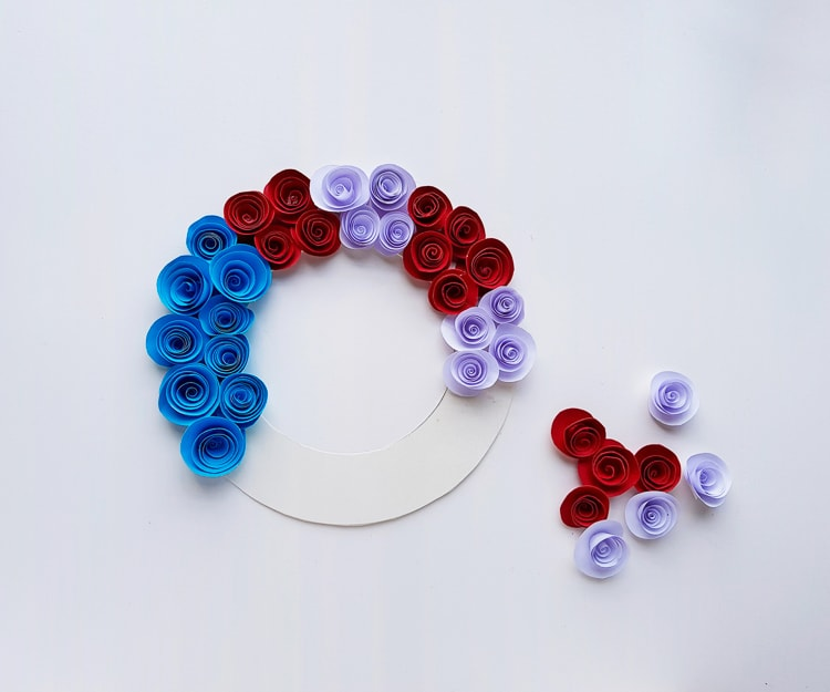 DIY patriotic wreath paper flower