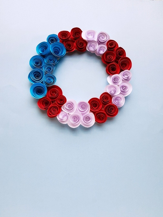 paper flower wreath red white and blue craft
