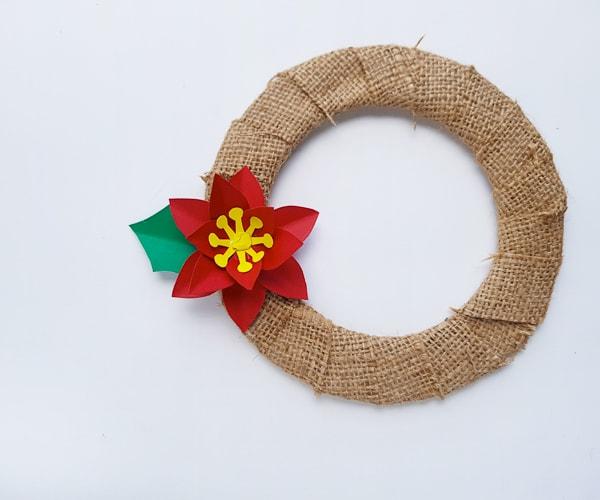 DIY poinsettia flower wreath