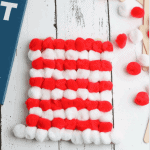 Cute Dr. Seuss hat craft. Perfect for those reading cat in the hat with their kiddos. Just pom poms and Popsicle sticks! My kids love Popsicle stick crafts