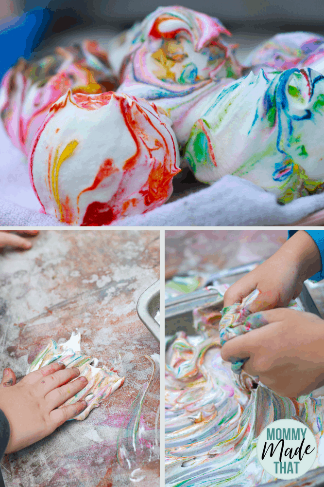 Fun sensory activity for kids while dying Easter eggs with cool whip!