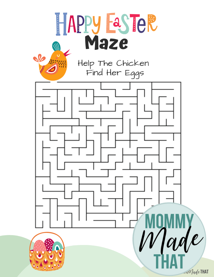 Free Easter bunny printable maze worksheets!