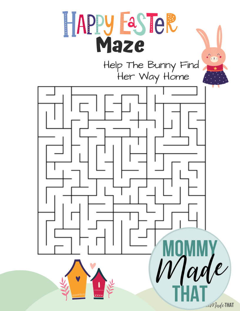 Easter Bunny free printable maze game worksheet