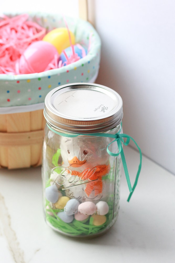 """Chocolate Easter bunny """"chick"""" mason jar display. Would make a wonderful Easter Gift. Would make a wonderful Easter Gift."""