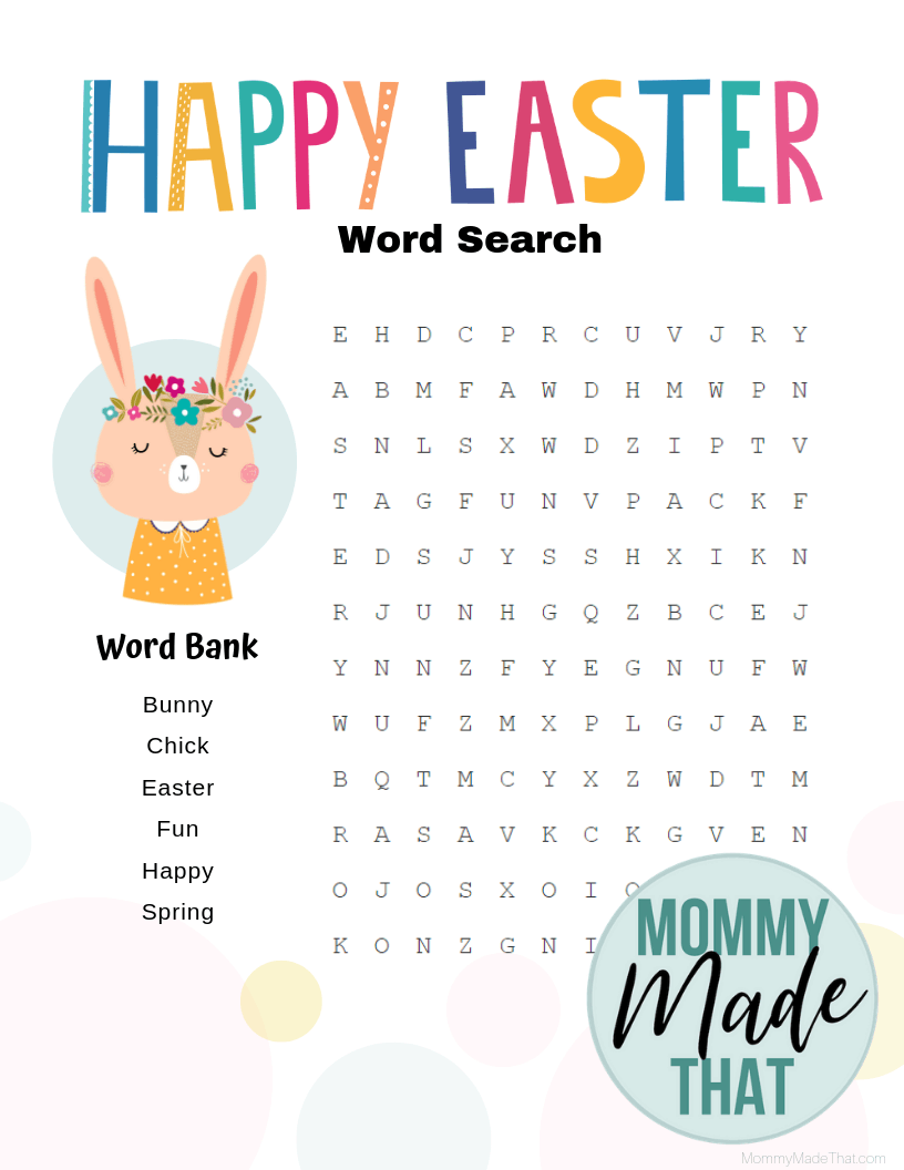 Easter printable. Fun and easy word search game for kids with an Easter theme.