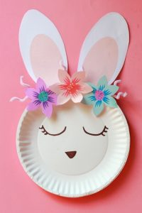 Easter bunny paper plate craft