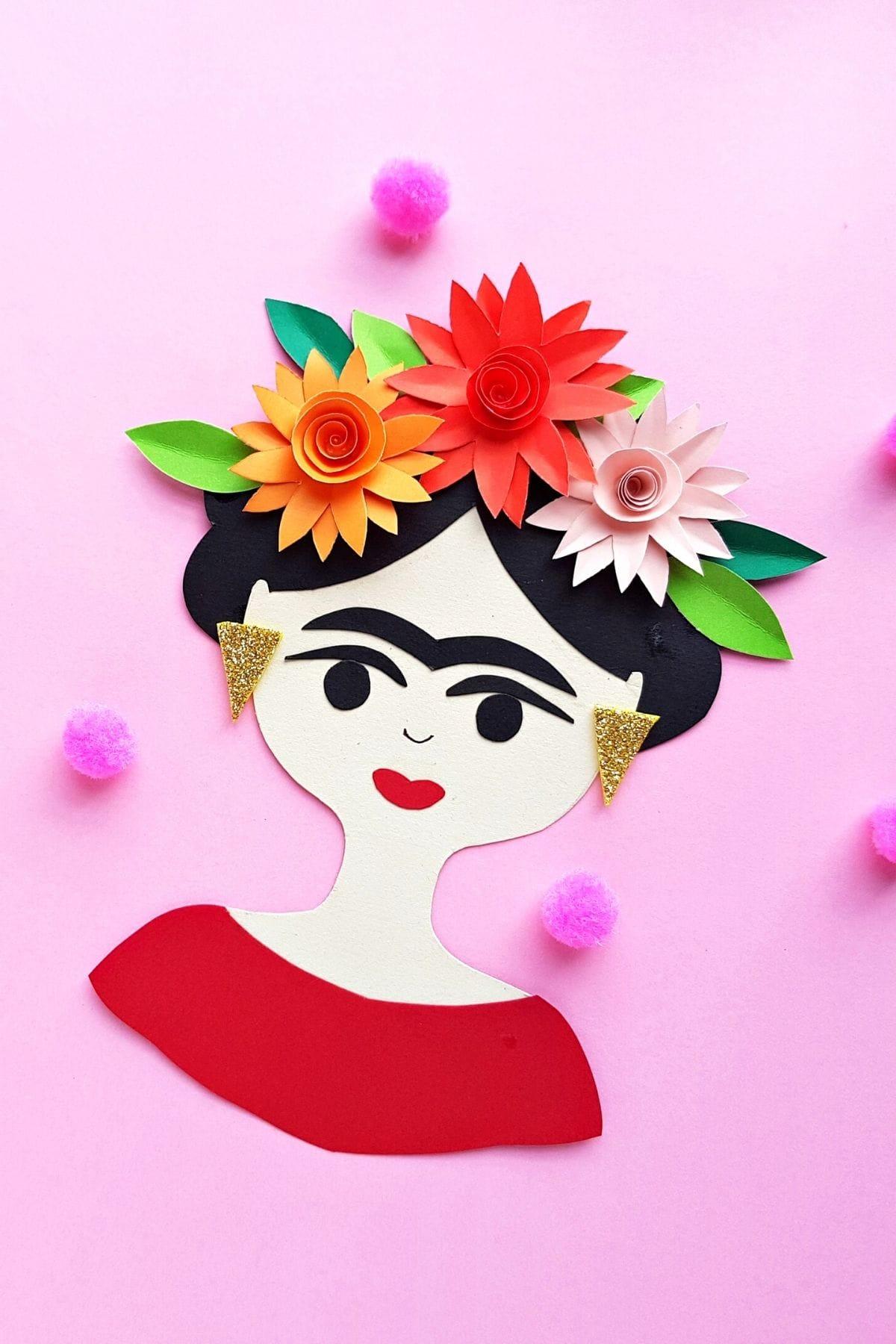 Frida Kahlo Craft with paper flower headband