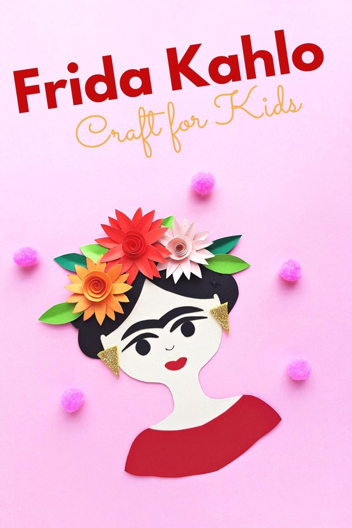 Frida Kahlo craft for kids with printable template