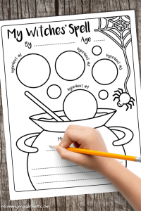Halloween printable witches' spell activity for kids