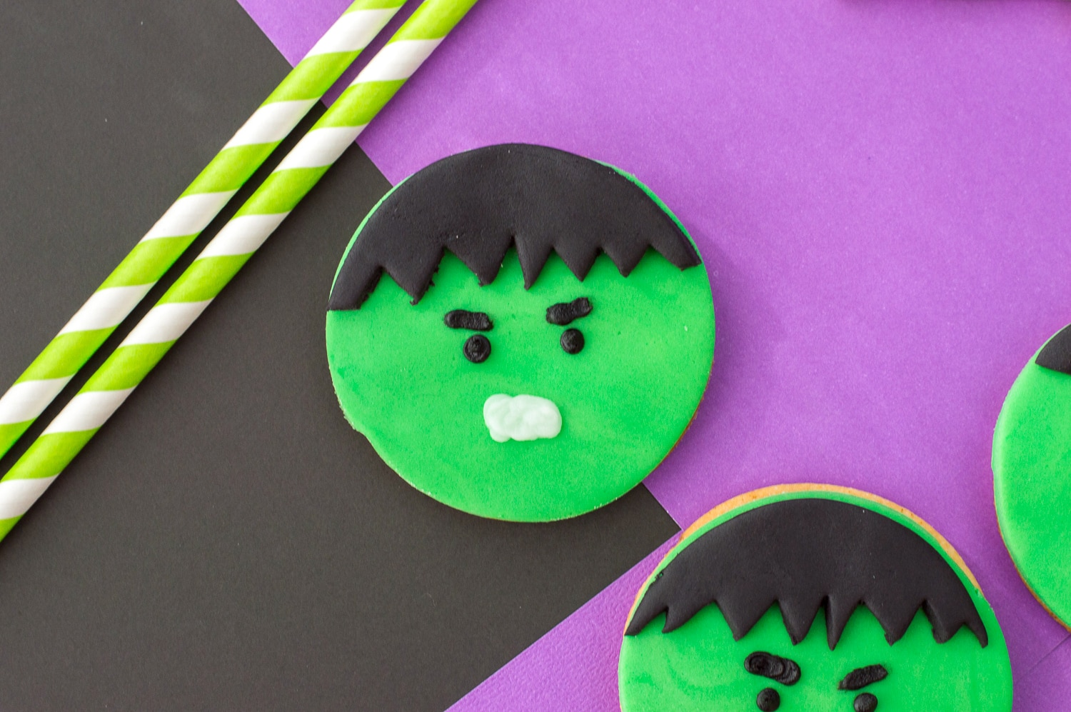 Cute hulk cookies. These DIY decorated sugar cookies are prefect for a super hero or avenger themed birthday party.