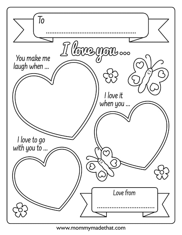 I love you because printable valentines
