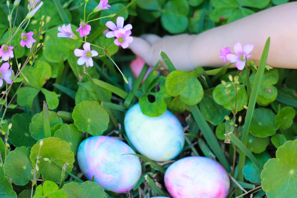 Easter eggs dyed with whipped cream! Fun toddler activity.