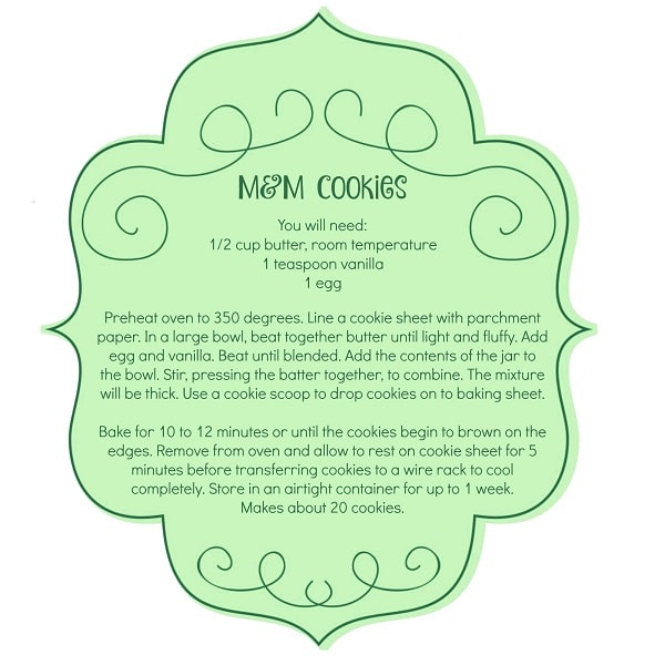 M&M Cookie Mix Jar Gift Tag and instructions