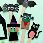 Cute Monster Halloween puppets on popsicle sticks