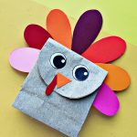 Paper bag turkey craft. A cute turkey made from a small paper bag.