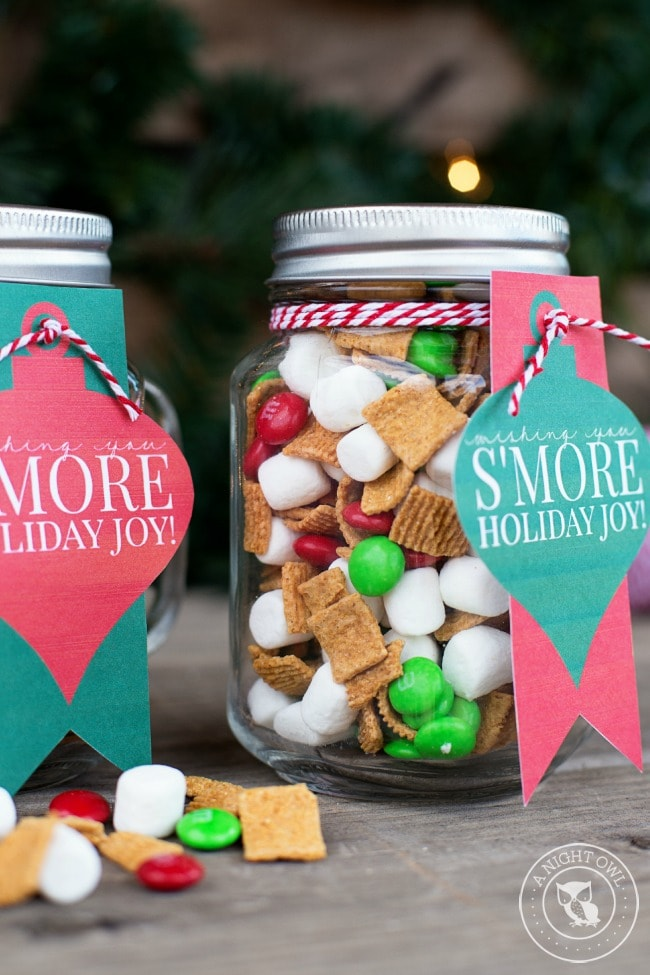 smores mason jar gift idea for christmas