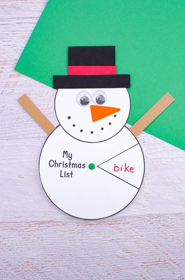 Cute snowman wish list spinner