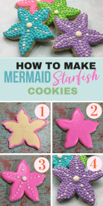 Starfish Mermaid Cookies for Mermaid themed party