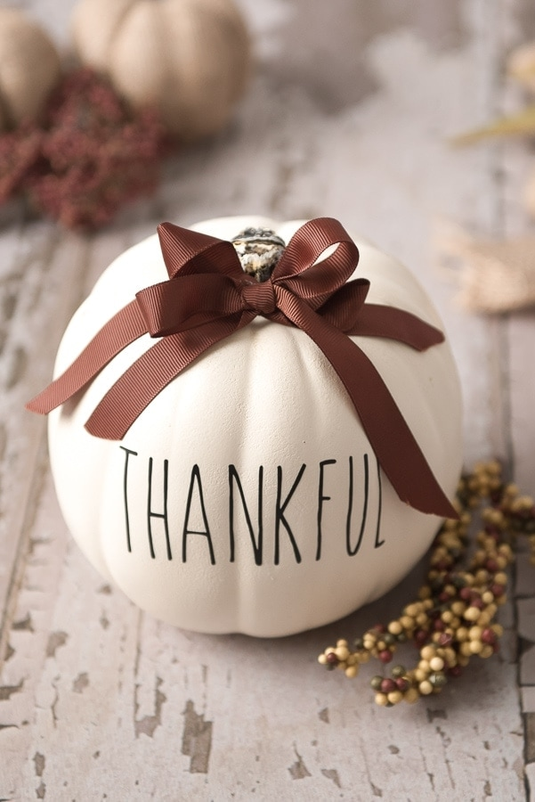 "cricut thanksgiving pumpkin craft, creamy pumpking with the word ""thankful"" printed on it"