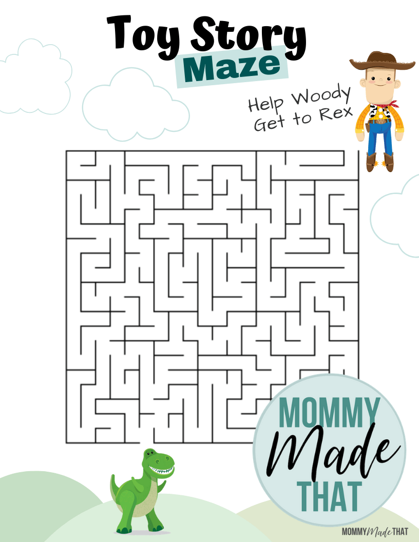 Free printable maze game with a toy story theme. Help woody find his way to rex.