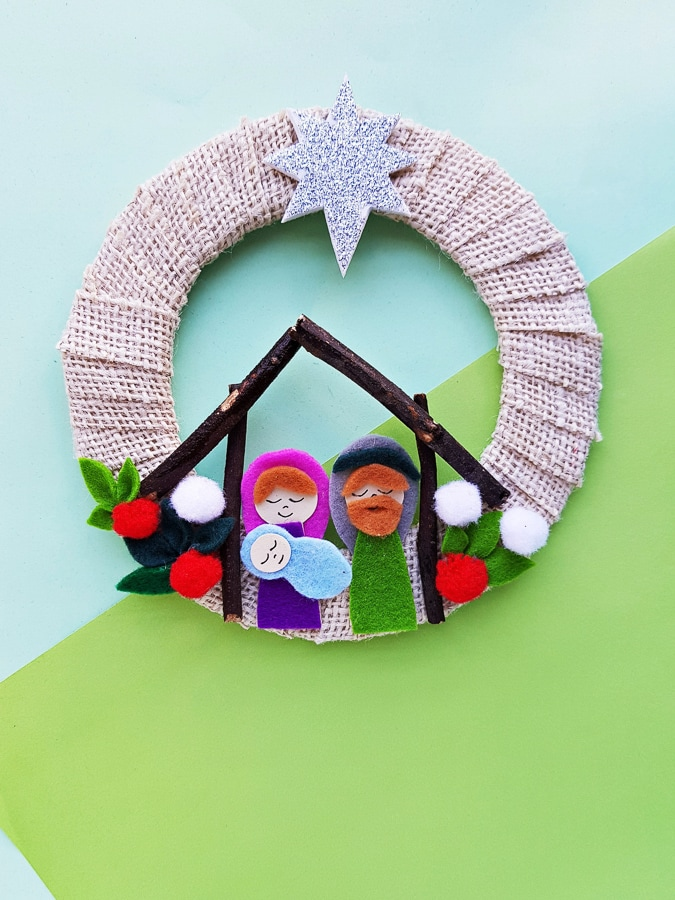 baby jesus birth craft felt wreath