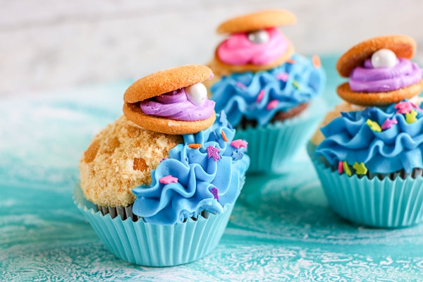 Beach cupcakes perfect for a mermaid themed party