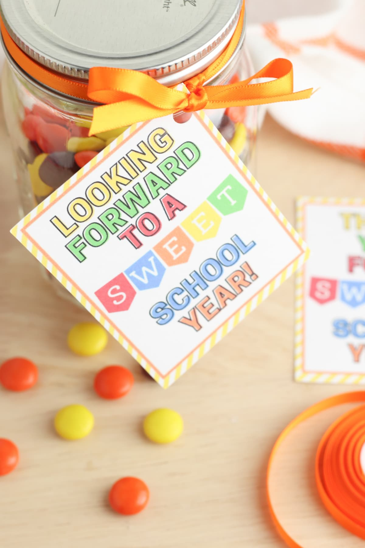 Candy jar for teachers gift printable for beginning or end of school year