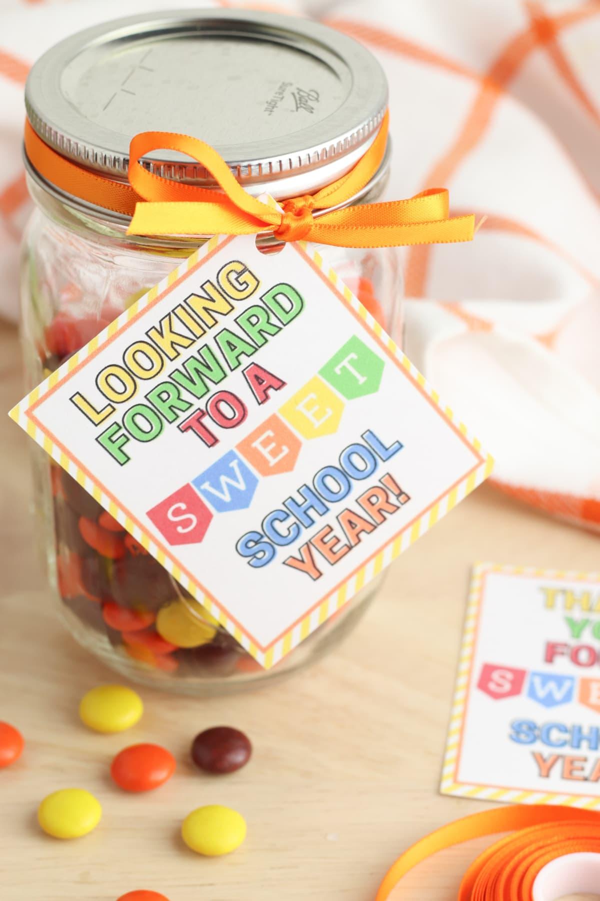 Candy jar for teachers printable gift idea