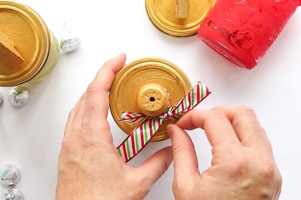 Christmas ribbon on mason jar