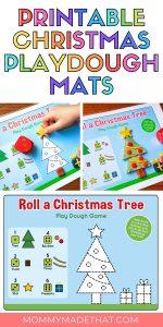 Free printable playdough mat with Christmas tree