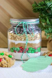 Cookie mix in a Mason Jar with Gift Tag