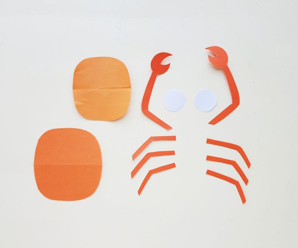 crab craft template pieces