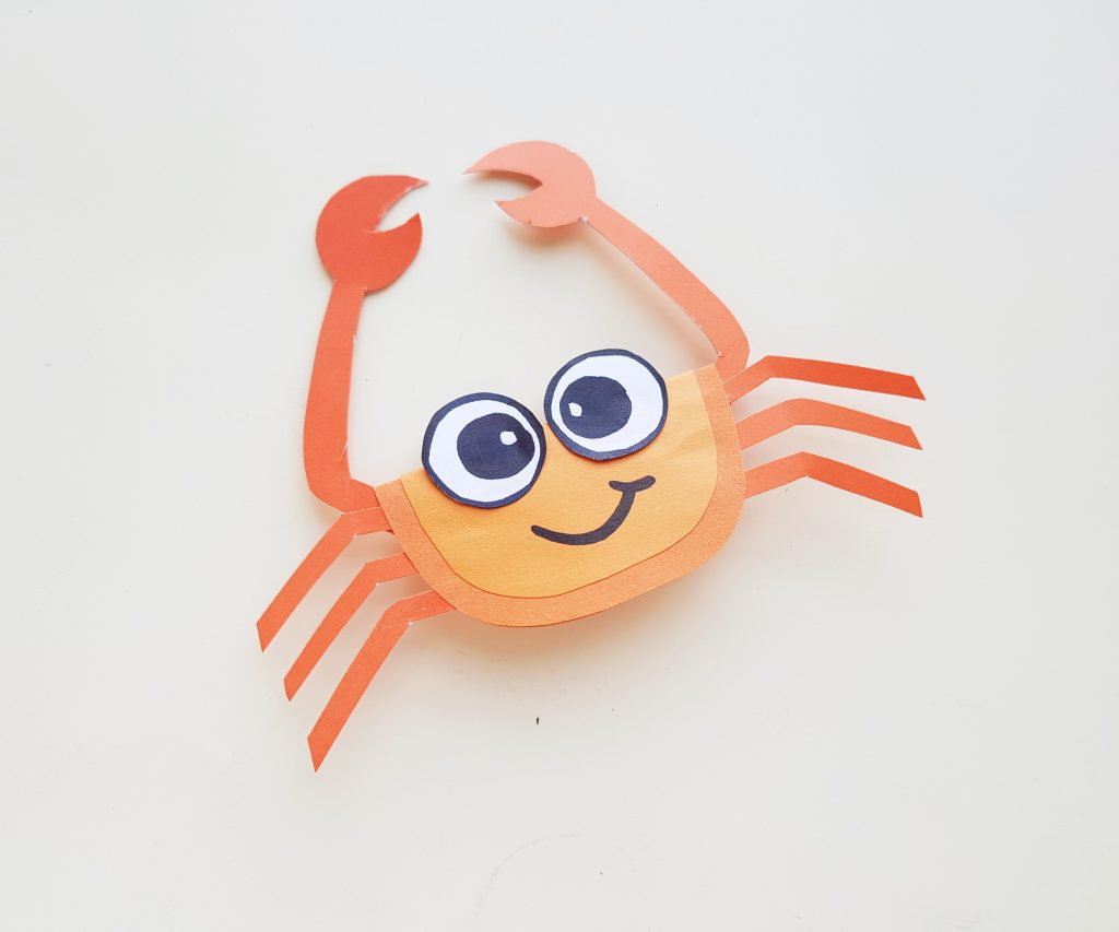 finishing up making the paper crab