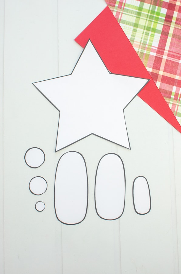 Printable template pieces for paper nativity craft for kids