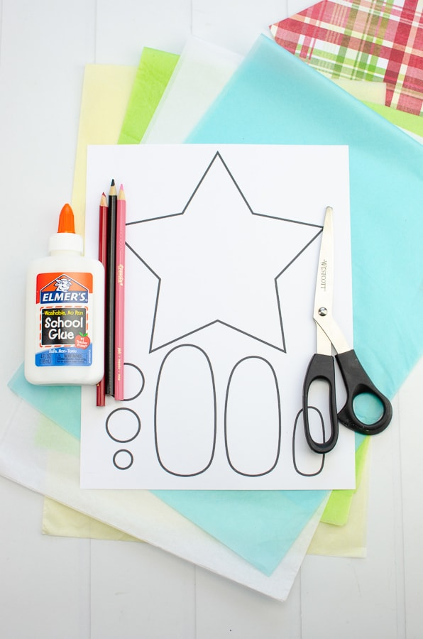 Supplies for paper nativity craft