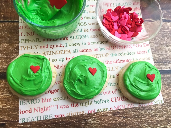 Grinch's heart Christmas cookies