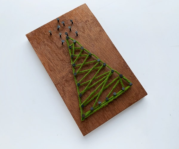 decorative christmas tree art made from string