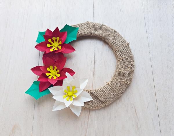 diy poinsettia wreath tutorial craft