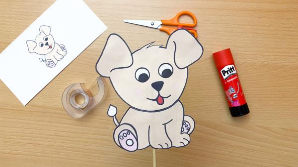 cute puppy craft stick puppet