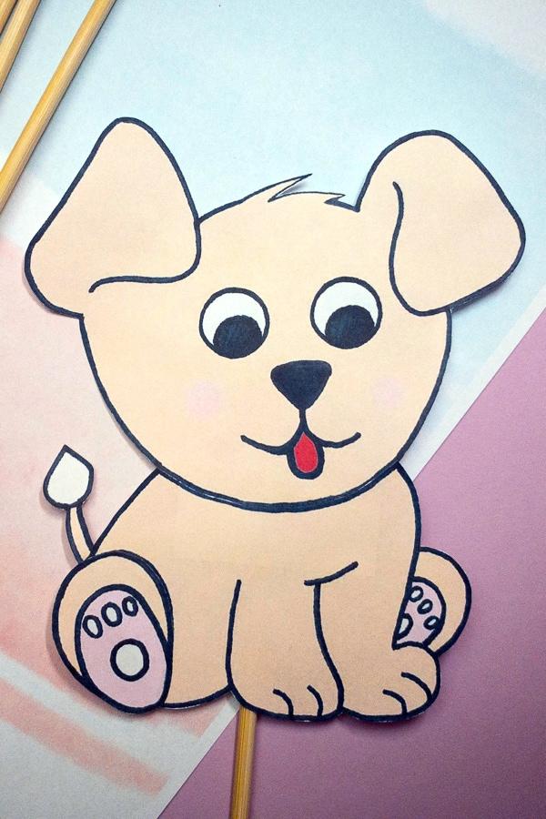 Super cute dog puppet craft