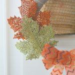 DIY dollar store fall wreath leaves