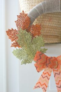 DIY dollar store fall wreath leaves