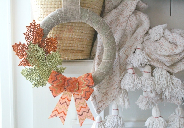 DIY Fall Wreath made from dollar store supplies
